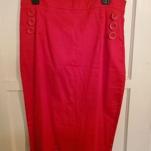 Collectif Red Pencil Skirt